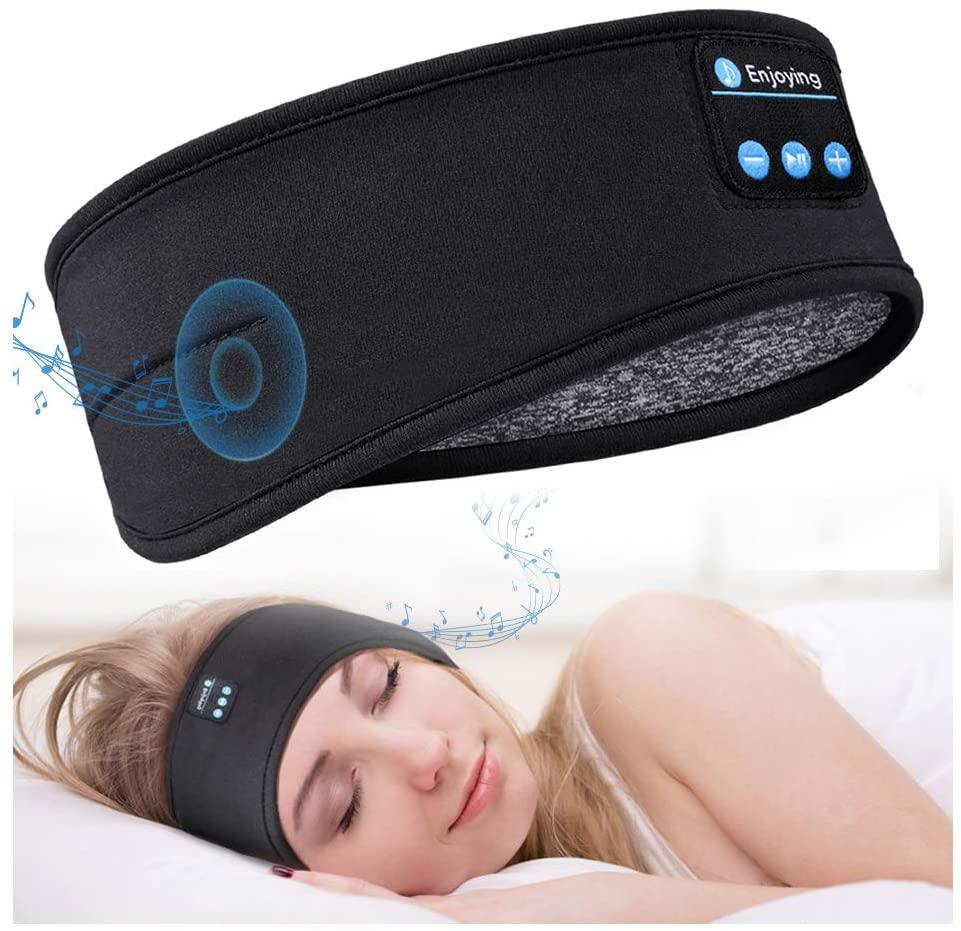 Bluetooth Sleeping Headphones Sports Headband Thin Soft Elastic Comfortable Wireless Music Headset Eye Mask for Side Sleeper