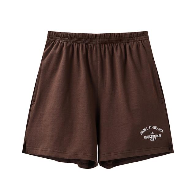 PUWD Slim Girls Soft Cotton Shorts 2021 Summer Fashion Ladies Brown Joggers Shorts Vintage Women Chic Bottoms Sweet 1