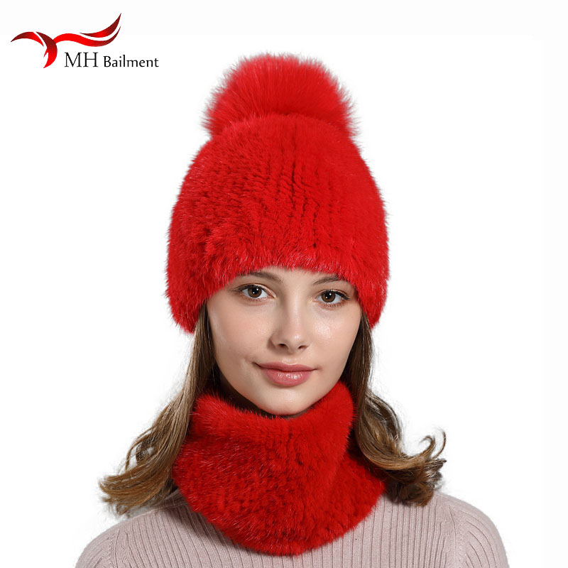 100% Real luxury mink fur knit hat scarf female high-end natural fur hat ladies winter knitting fashion warm cap bandana set 56
