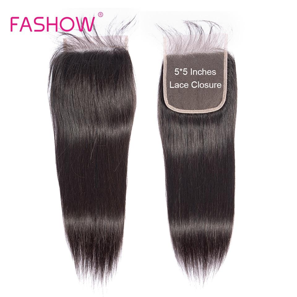 Fashow 8-22 fermeture de cheveux brésiliens 5X5 plus grand que 4X4 avec des cheveux de bébé liés à la main En soldes