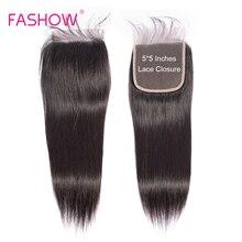 Fashow 5X5 Brazilian Hair Closure Bigger than 4X4 With Baby Hair Hand Tied Natural Look Remy Human Hair Closure Top Lace Closure