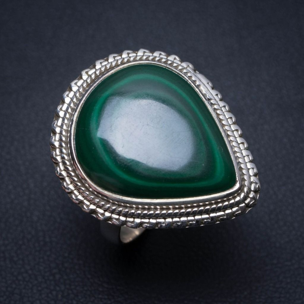 Natural Malachite Handmade Mexican 925 Sterling Silver Ring, US Size 7 S2276
