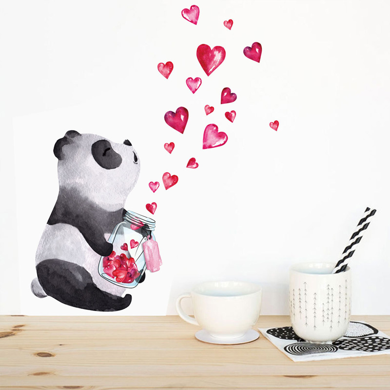 Hand Drawn Panda Wall Sticker Chinese Style Art Mural Living Room Bedroom Cabinet Decoration Home Decor Cute Stickers