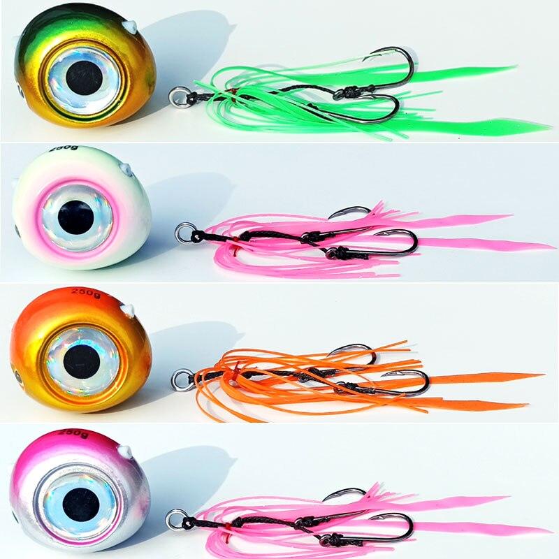 1pc 250g/200g/150g/120g/100g/80g/60g/40g Kabura Lure Pesca Slider Snapper/Sea Bream Jig Head With Skirt  Lead Jig Jigging Lure