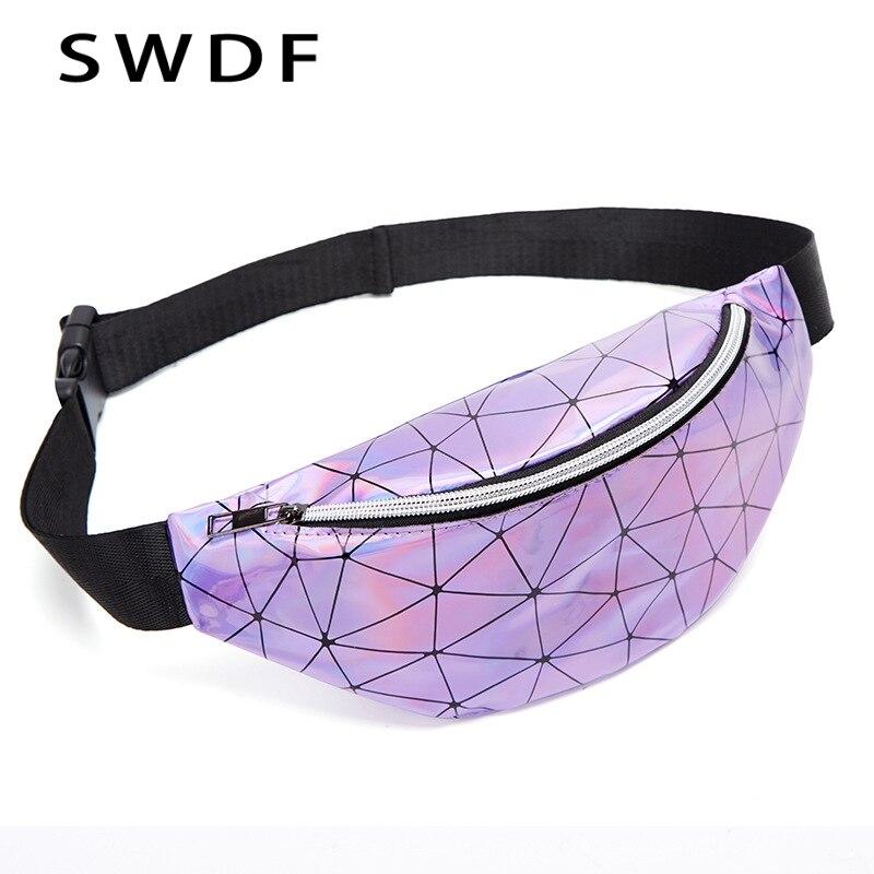 SWDF Waist Belt Bag Women Fanny Pack Fashion Belts Purse Banana Waist Packs Women's Belt Bag Laser Chest Phone Pouch Sac Banane