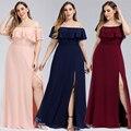 プラスサイズボートネックピンク a ラインのウエディングドレス vestidos デ madrinha 以来プリティ EP00968 のためパーティー 2020