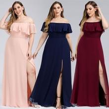 Plus Size Boat Neck Pink A Line Bridesmaid Dresses Vestidos De Madrinha Ever Pretty EP00968 Formal Dress For Wedding Party 2020
