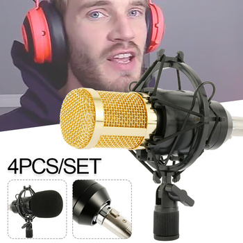 Microphone Condenser Sound Recording Microphone with Shock Mount for Studio Recording Kits Recording KTV Karaoke Mic фото
