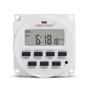 Цифровой программируемый таймер SINOTIMER AC 220 В, программируемый на 7 дней, реле времени, таймер управления, Din-рейка, крепление для электрическо...