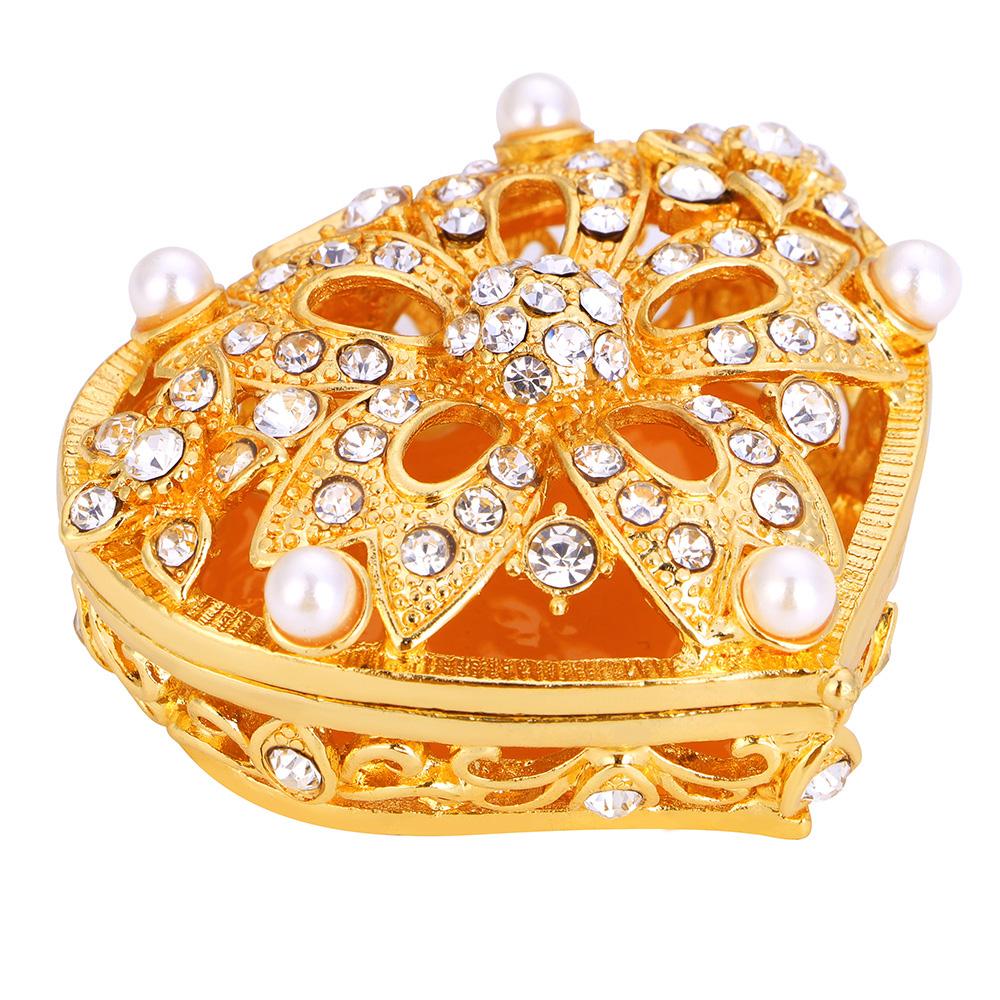 Gold Heart Shape Metal Jewelry Box with Imitation Pearl Rhinestone Women Gift Wedding Arrhae Unity Coins Set Box Bride Accessory