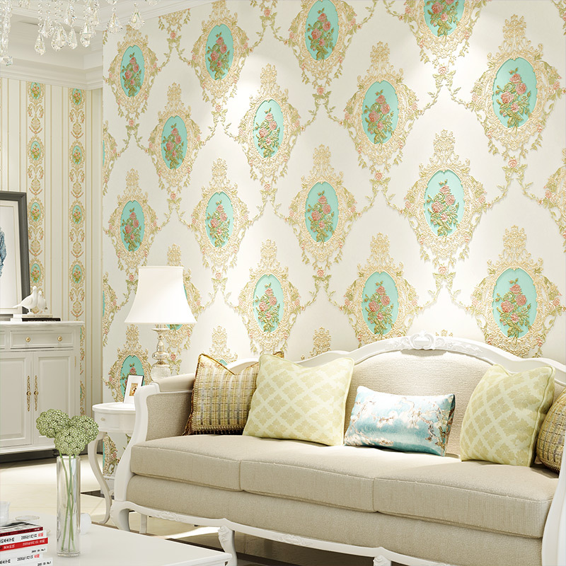 American-Style Pastoral Style AB Version Of Big Flower Plain Color Non-woven Wallpaper Background Of Television In The Drawing R