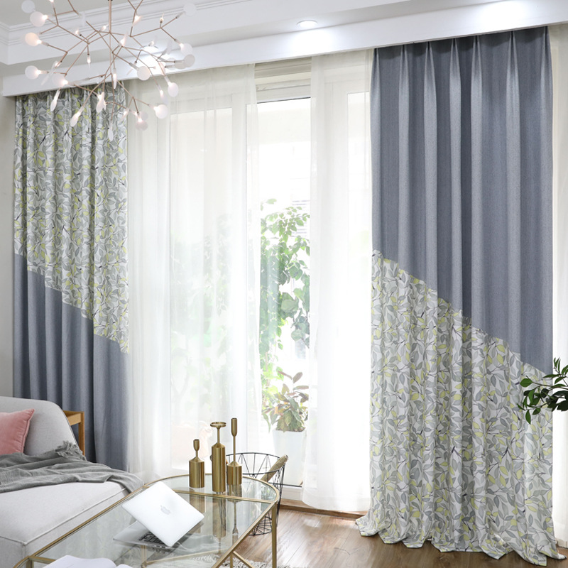 Modern Jianyuexuenier Printing Splice Curtains For Living Dining Room Bedroom.
