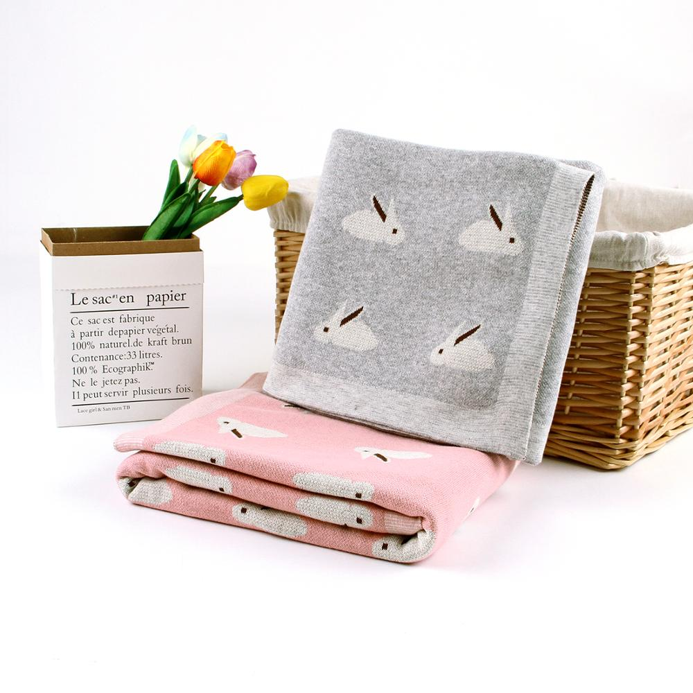 Baby Blankets Knitted Newborn Swaddle Wrap Blanket Cartoon Rabbit Toddler Photograph Props Multifunction Children Covers 100*80