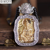 100% 925 Silver Tibetan Yellow Jambhala Buddha Pendant Garuda Pendant Necklace Sterling Wealth Buddha Pendant Good Luck Necklace