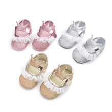 2020 Newborn Infant Baby Girl Princess Lace Crown Shoes Sequined Cotton Soft Sole Crib Prewalker Shoes First Walkers