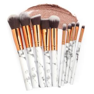 Hot 10 pcs/Set Marbling Makeup Brush Eye Shadow Women Makeup Brush Foundation Brush Contouring Brush Makeup Tools Sets TSLM1