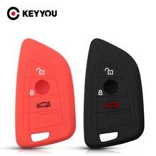 KEYYOU 30x ل BMW 525li F15 F16 F48 F85 G30 G11 M 2018 X1 X3 X4 X5 X6 35i 50i المطاط حافظة مفاتيح من السيليكون ل المفاتيح 3 أزرار