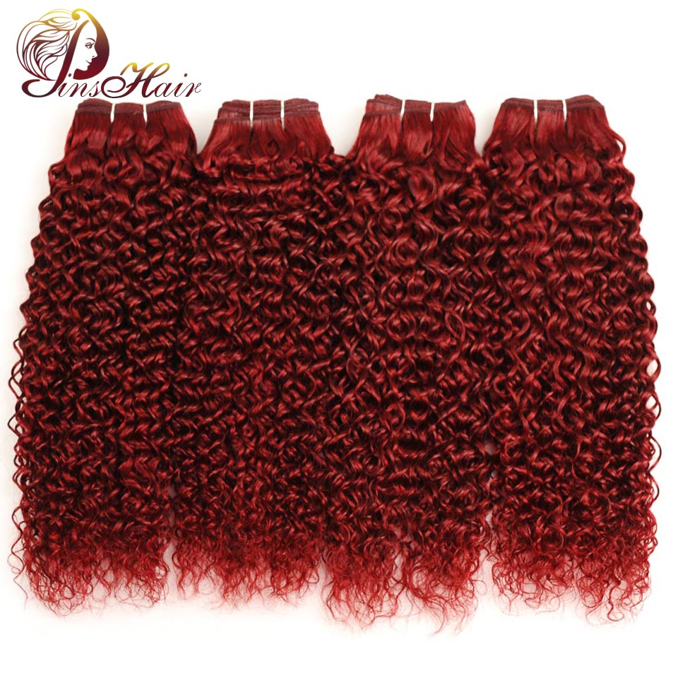 Red 99J Brazilian Hair 4 Bundles Kinky Curly Human Hair Burgundy Bundles Thick Hair Weave Extensions Pinshair Non-remy No Tangle