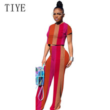 цена на TIYE Women Clothing Casual Two Piece Set Top and Wide Leg Pants Elegant O-neck Short Sleeve Summer Female Outfits Plus Size XXL