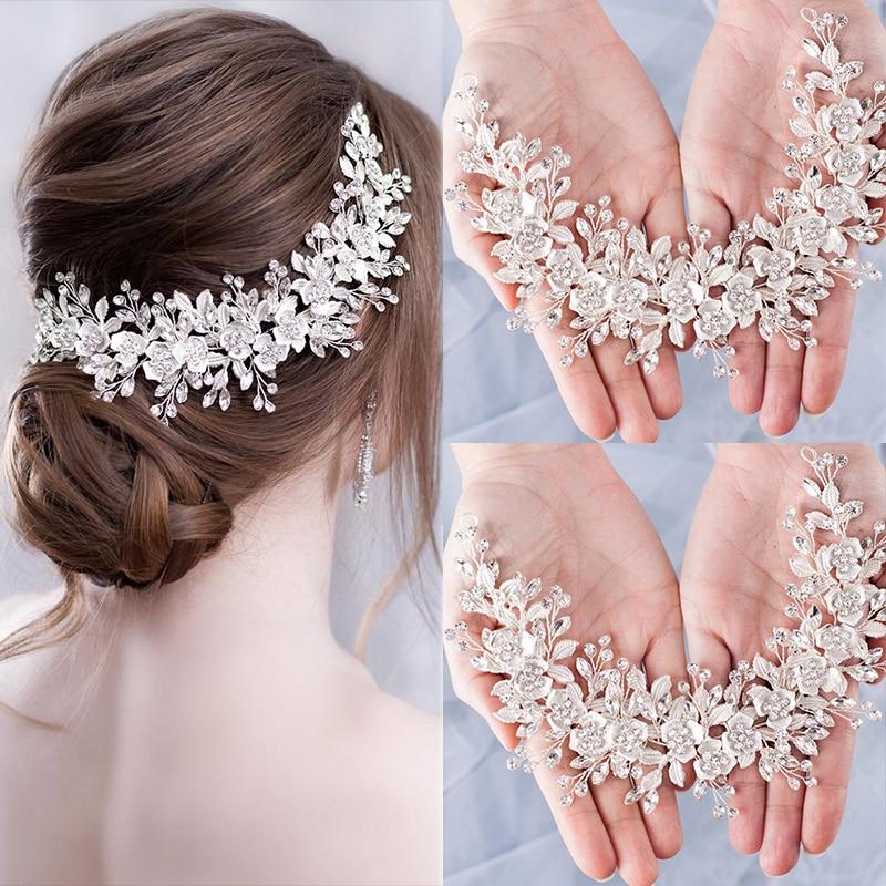Женский обруч для волос с кристаллами Silve rColor, свадебный аксессуар для волос с цветами, украшение для волос ручной работы