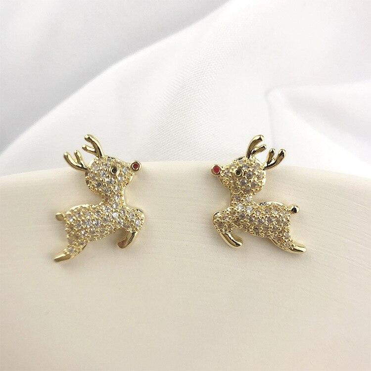 Crystal Female Small Wedding Earrings Charm Gold Silver Color Zircon Earring Cute Elk Christmas Party Stud Earrings For Women