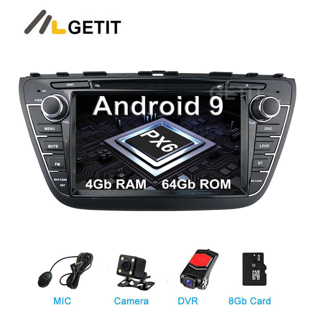 DSP 64G PX6 Android 9.0 Estéreo Do Carro DVD multimídia GPS Radio para Suzuki SX4 S Cruz 2014 2015 2016 2017