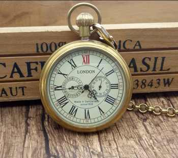 Antique Copper London Pocket & fob Watches Mechanical Watch Hand Wind Skeleton Mens Pocket Watch With Chain Xmas Gift Box