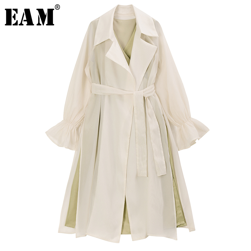 [EAM] Women Two Piece Bandage Long Trench New Lapel Long Puff Sleeve Loose Fit Windbreaker Fashion Tide Spring 2020 1R734