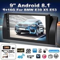 "9"" Multimedia Player Android 8.1 Car Dash Video GPS Stereo Radio Wifi 16G 1024x600 For BMW E38 E39 E53 X5"