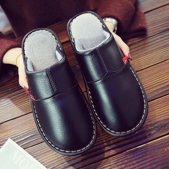 Leather Couple Shoes Autumn Winter home slippers Man Fashion Big size indoor Waterproof Men slippers with fur soft socofy millffy wool slippers home package with comfortable men and women couple fur large size shoes mother pregnant women shoes