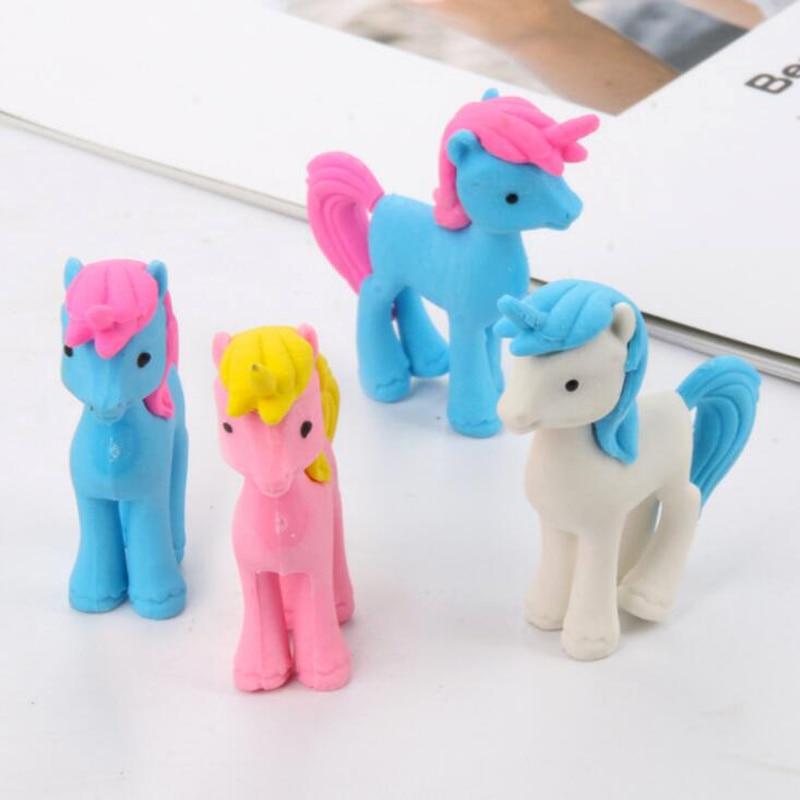 Novel Kawaii Pony Unicorn Eraser Cartoon Rubber Stationery Set Office School Pencil Writing Correction Supplies Child Gift