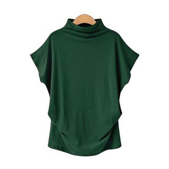 Blusa informal de algodón con manga corta de murciélago para Jocoo Jolee, Camisa lisa de talla grande para mujer, 2020 5