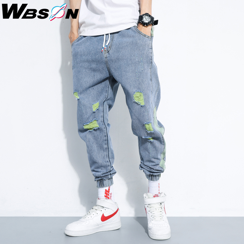 Wbson Hip Hop Patchwork Ripped Hole Jeans Men Casual Denim Trousers Pants For Male High Qulity Joggers Jeans Men DLD-W803