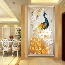 5D diyダイヤモンド刺繍絵画黄金孔雀クロスステッチの背景の装飾のリビングルーム、ダイニングルームとベッドルーム