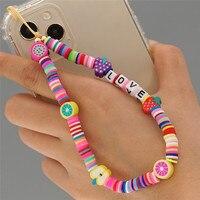 ZOSHI-Correa de teléfono móvil para mujer, cordón colgante de Color arcoíris bohemio, cuerda colgante para funda de teléfono móvil