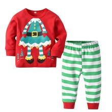 Kids Christmas Sleepwear Long Sleeve Cotton Pajamas Suit For Boys Set Girls Tree Printed Stripe Winter