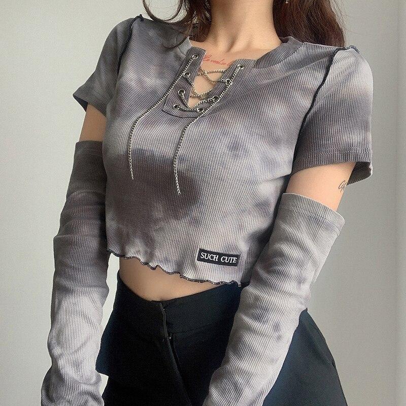 Women Gothic Metal Chain Hollow Out Short Sleeve Slim T-shirt Irregular Crop Top