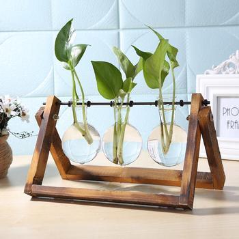 Jarrón maceta de vidrio y madera, mesa de terrario, planta hidropónica de escritorio, maceta colgante para bonsái, macetas con bandeja de madera para decoración del hogar