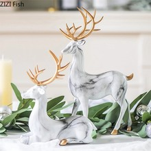 Figuras de resina de ciervos y mármol, acessórios para casa moderna, animales de imitação, adornos decorativos, artesanía nórdi