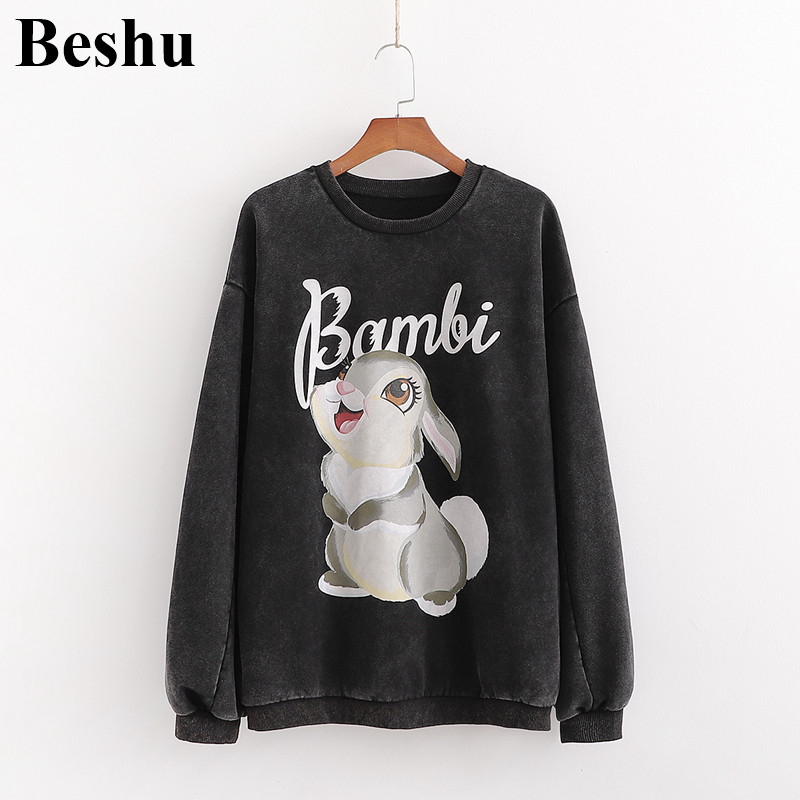 Za 2019 Fashion Sweatshirt Women Black Bambi Cartoon Print Round Neck Plus Velvet Pullover Lantern Sleeve Elegant Cute Pullover