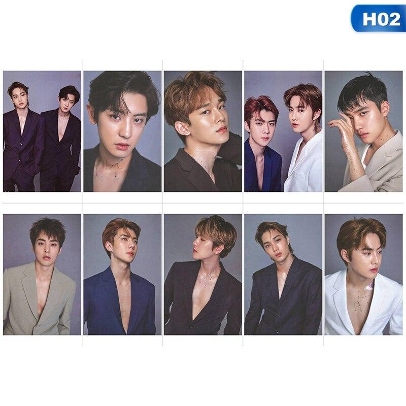 10Pcs/Set KPOP EXO Album Homemade Paper Card LOMO Photo Card Star Card Holder Stationary Set