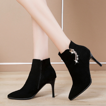 New Flock Solid Black Boots for Women Shoes Woman Autumn Thin High Heels Ankle Boots Crystal Fringe Zip Winter Boots Plus Size