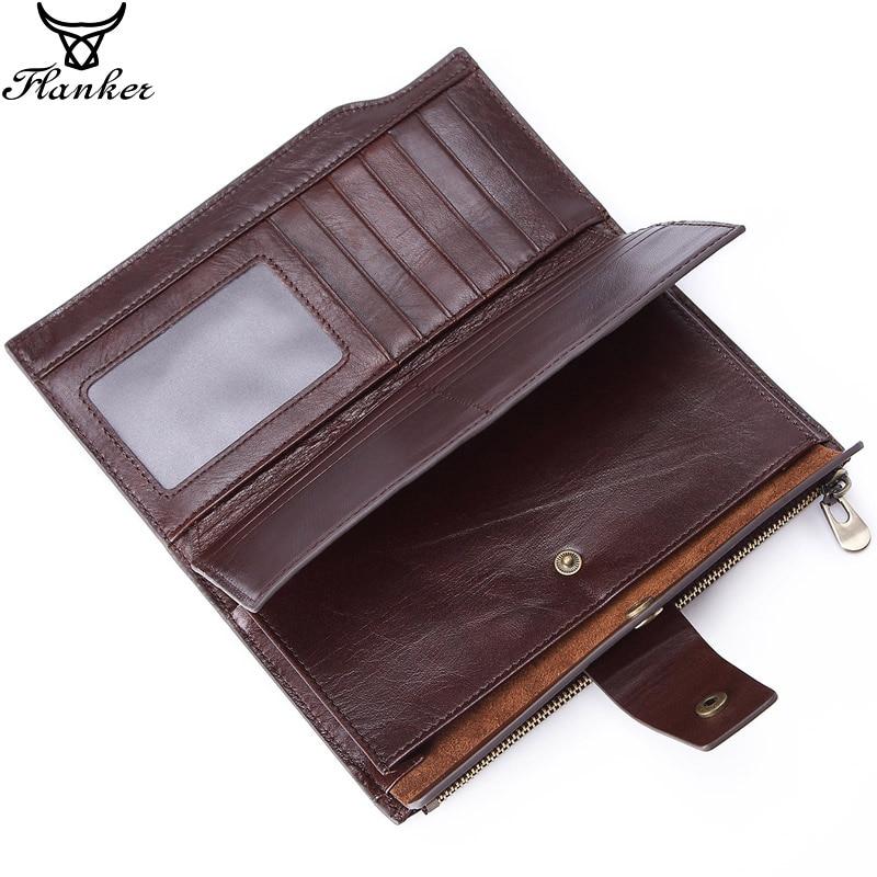 Flanker Vintage Long Clutch Wallets Genuine Leather Organizer Purse Zipper Pocket Business Male Cell Phone Money Bag Card Holder