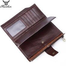 Flanker vintage uzun debriyaj cüzdan hakiki deri organizatör çanta fermuarlı cep iş erkek cep telefonu para çantası kart tutucu