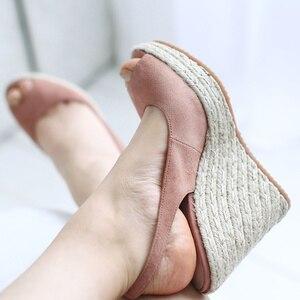 Image 3 - דונה ב פלטפורמת סנדלי טריז נשים אמיתי עור סופר גבוהה עקבים פתוח הבוהן חוף אופנה נשי 2020 קיץ גבירותיי נעליים