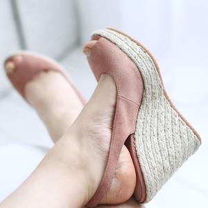 Image 3 - Donna in Platform Sandals Wedge Women Genuine Leather Super High Heels Open Toe Beach Fashion Female 2020 Summer Ladies Shoes