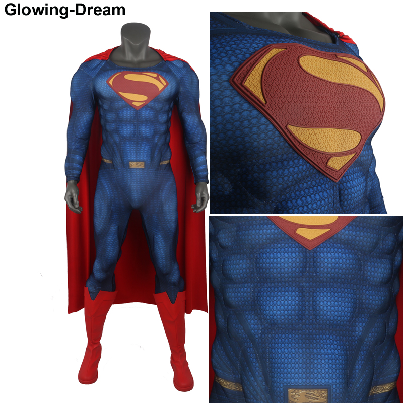 Glowing Dream Newest Muscle Padding Superman Costume Man Of Steel Superman Cosplay Costume With Relief Muscle Padding