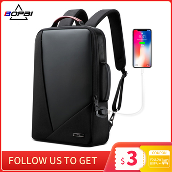 BOPAI Business Backpack Men's Usb Anti-Theft Computer Bag Increased Capacity 15.6 Inch Laptop Bagpack Women Elegant Waterproof - discount item  49% OFF Backpacks