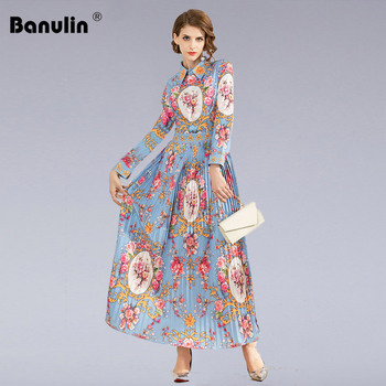 Banulin 2020 Spring Runway Pleated Maxi Dress Womens Long Sleeve Charming Pink Floral Printted Holiday Beach
