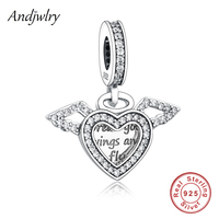Подходит к оригинальному браслету Pandora, 925 пробы, Серебряное сердце и крылья ангела, подвеска, подвеска, шарм, 925 серебряные бусины Berloque